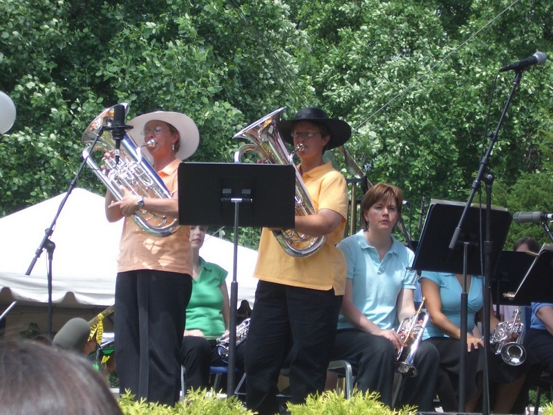 Laura Lineberger and Gail Robertson (The Debutantes) with Athena Brass Band, GABBF 2005