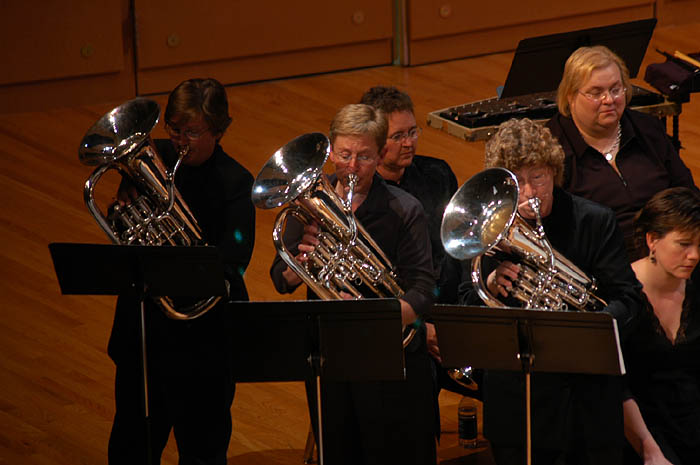 Gail Robertson, Laura Lineberger and Sharon Huff with Athena Brass Band (The Three Mendez), IWBC 2006